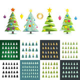 Big set of different christmas trees silhouette.  Royalty Free Stock Photography