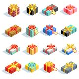 Big set of different colored 3D giftboxes with ribbons isolated. Vector illustration Stock Photography