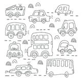 Big set of different hand drawn toy cars royalty free illustration