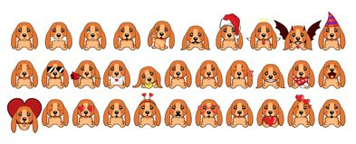 Big set of different little dogs. Brown puppies with different emotions. stock illustration
