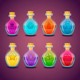 Big set with different magic elixir Royalty Free Stock Photo