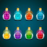 Big set with different magic illumination elixir. Game design illustration Royalty Free Stock Photo
