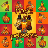 Big set of different magic poisons Stock Image