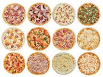 Big set of different pizzas: Ham with mushrooms, Barbecue, Peperoni`s, Mexican, Chicken stock photography