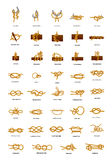 Big set of different sea knots on white Stock Photography