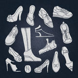 Big set of different shoes. Vector illustration. Hand drawing. Royalty Free Stock Photos