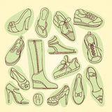 Big set of different shoes. Vector illustration. Hand drawing. Stock Photos
