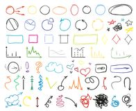 Art creative. Illustration. Big set of different signs. Hand drawn simple elements. Doodles for design. Line art. Infographic elements on white. Abstract circles royalty free illustration