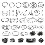 Art creative. Illustration. Big set of different signs. Hand drawn simple symbols for design. Line art. Infographic elements on white. Abstract circles, arrows vector illustration