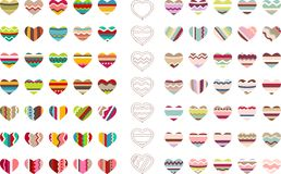 Big set with different stylized hearts Stock Photo