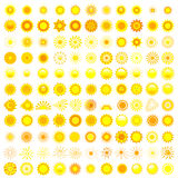 Big set of different sun over white Royalty Free Stock Photos