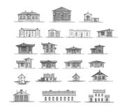 Big set of different urban architecture Royalty Free Stock Photography