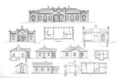 Big set of different urban architecture Stock Photo