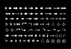 Big set of different vector  white arrows isolated Royalty Free Stock Photos