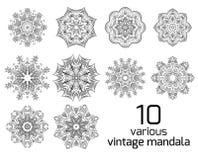 Big set of different vintage round patterns. Stock Photo
