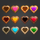 Big set with different wooden hearts Stock Photos