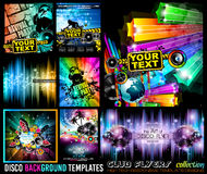 Big Set of Disco Club Flyer Template for your Music Event. Big Set of Disco Club Flyer Template for your Music Nights Event. Ideal for TEchno Music, Hip Hop and royalty free illustration