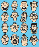 Big set of doodle faces in various facial expressions Stock Images