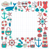 Big set with doodle images about beach fashion and travel Stock Photos
