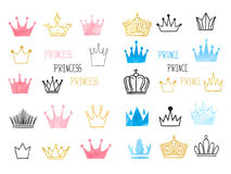 Big set of doodle sketch watercolor crowns for design Royalty Free Stock Image