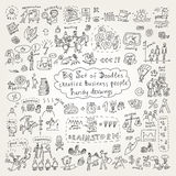Big set of doodles creative business people icons. Vector illustration Stock Photography