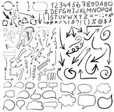 Big set of 156 drawn VECTOR arrows and word bubbles, black lines Royalty Free Stock Photo
