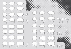 Big set of editable comic clouds or bubbles Stock Image