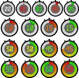 Big Set electronic stopwatch with a gradient dial starting with red or green. 00, 01, 05, 10, 15, 30, 45, 55, 60. Set electronic stopwatch with a gradient dial stock illustration