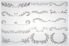 Big set of elegant calligraphic foliate borders Royalty Free Stock Image