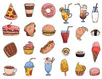 Big set elements with hand drawn food, sweets and drinks royalty free illustration