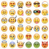 Big set of 36 emojis emoticons. Big Set of 36 high quality vector cartoonish emoticons, in glossy traditional style Stock Image