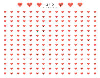 Big set 210 emotions red hearts isolated on white background. Royalty Free Stock Photography