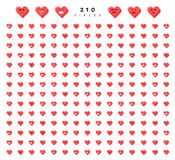Big set 210 emotions red hearts  on white background. Stock Photography