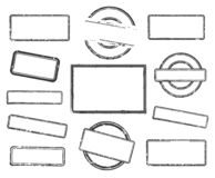 Set of empty rubber stamps. Big set of empty rubber stamps. Vector illustration on white background royalty free illustration