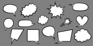 Big set empty speech bubble comic text Stock Photos