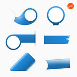 Big set of empty tags with place for you graphic or text, blue color Stock Photos