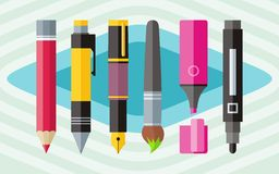 Big set engineering office pens and pencils Royalty Free Stock Photos