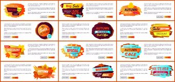 Big Set of Fall Autumn Sale Web Posters Promo Ads Royalty Free Stock Photography