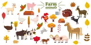 Big set of farm animals, pig, rabbit, cow, bull, cat, dog, goose, duck, turkey, donkey, goat, sheep, ram, modern vector illustration