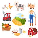 Big set of farm elements. Fresh green food, vegetables and diary, cattle, farm animals, house and farmer with tractor and tools Stock Photos