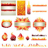Big  set of fire design elemets. (frame, icons, backgrounds Stock Image