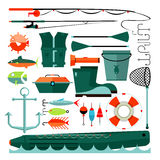 Big set of fishing elements. Flat design. Fishing hooks, rod boat, anchor and other. Vector Illustration Stock Images