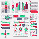 Big set of flat infographic elements. Vector illustration Stock Images
