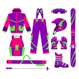 Big set of flat style vector skiing objects Royalty Free Stock Image