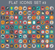 Big set of flat vector icons with modern colors Stock Photography