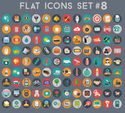 Big set of flat vector icons with modern colors Royalty Free Stock Photos
