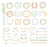 Big set of floral graphic design elements stock illustration