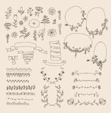 Big set of floral graphic design elements Royalty Free Stock Photography