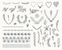 Big set of floral graphic design elements Stock Photo
