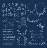 Big set of floral graphic design elements Stock Photos